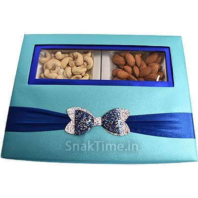 Blue Bow Window Dry Fruit Gift ST1098X11